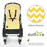 Outlook Travel Comfy Pram, Pushchair, Car Seat Liner - Yellow Chevron by Outlook