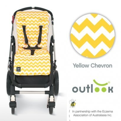 Outlook Travel Comfy Pram, Pushchair, Car Seat Liner - Yellow Chevron by Outlook by outlook