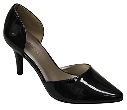 Forever Jada-35 Womens pointy toe high heel dorsay patent pumps Black 7.5 QYxB2teI