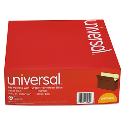 5 1/4 Inch Expansion File Pockets, Straight Tab, Letter, Redrope/Manila, 10/Box, Sold as 10 Each
