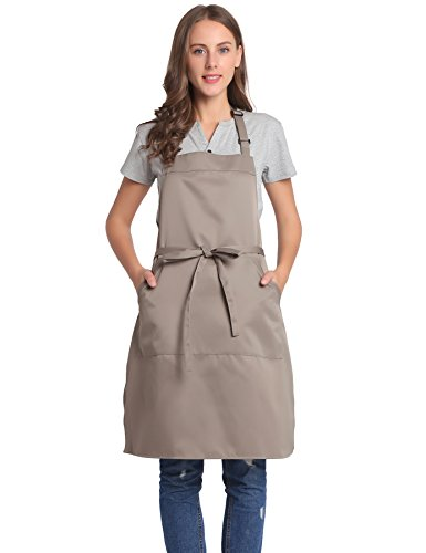 Tan Apron - BIGHAS Adjustable Bib Apron with Pocket, Extra Long Ties for Women, Men Kitchen, Home, Cooking (Tan)
