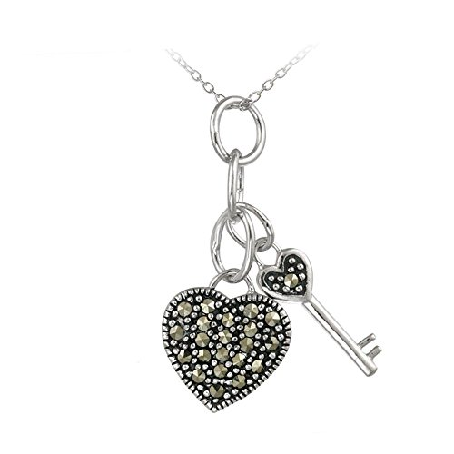 Glitzs Jewels Sterling Silver Marcasite Heart & Key Pendant, 18''