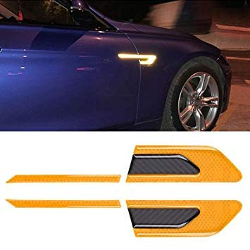 Uniqus 2 PCS Carbon Fiber Car-Styling Fender Reflective Bumper Decorative Strip, External Reflection + Inner Carbon Fiber(Yellow)