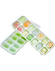 DOQAUS Ice Cube Trays 2 Pack, 【Better Sealing】Easy-Release Silicone & Flexible 14-Ice Cube Trays with Spill-Resistant Removable Lid, LFGB Certified and BPA Free, for Cocktail, Freezer, Stackable Ice Trays with Covers
