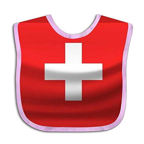 (Waving The Swiss Flag Teething Bib Waterproof Sleeved Bibs For Babies Toddlers)