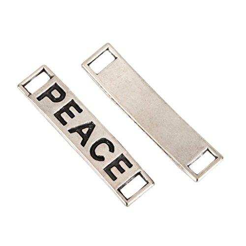 10 x Peace Charms Connectors 23x11mm Antique Silver Tone for Bracelets Necklaces Earrings #MCZ397 Clasps Square Antique Silver Bracelets