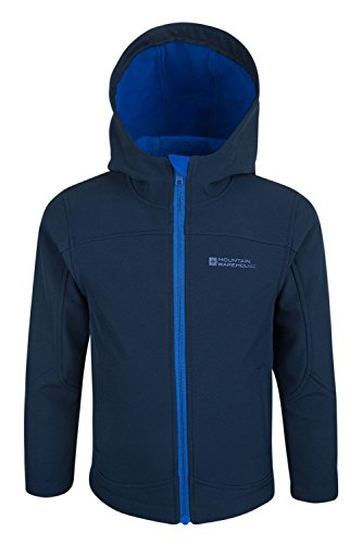 Mountain Warehouse Exodus Kids Softshell Hoodie Lightweight Rain Jacket Navy 7-8 years