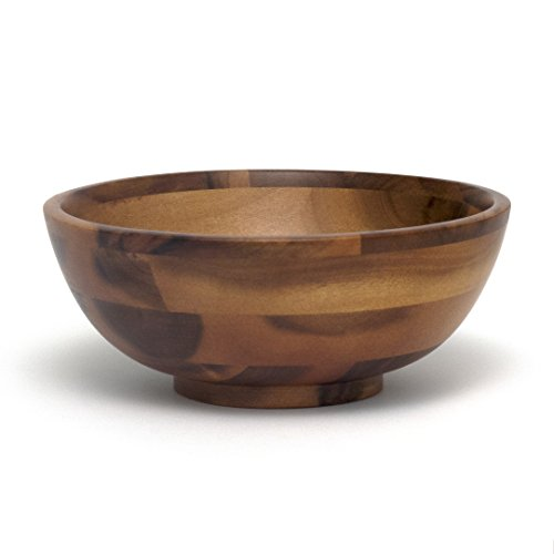 Lipper International 1183 Acacia Footed Round Flared Serving Bowl for Fruits or Salads, Small, 7