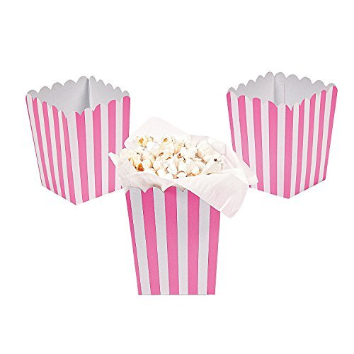 Paper Mini Candy Pink Striped Popcorn Boxes - 24 pcs