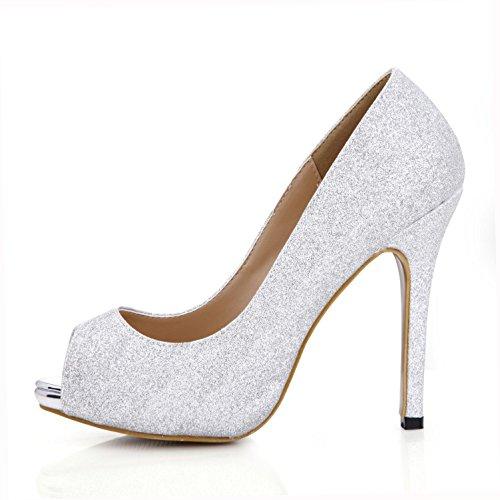 Glitter para Estilo High Plataforma toe sólido Color Bombas Casual 4U® Best de goma Básicas 11CM EU37 verano Silver Peep 1CM mujer suela Sandalias de Heels Zapatos vwYORIqf