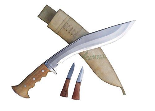 """12"""" Blade Authentic British Gurkha Iraqi operation Kukri full tang Blocker Gripper Sadan Wood handle white sheath handmade by Khukuri & Craft by Khukuri & Craft"""