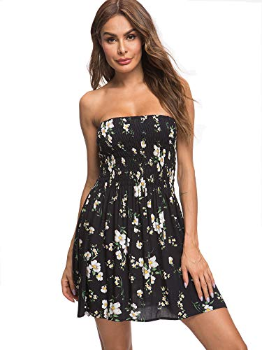 (Angelegant Tube Top Dress Women Sexy Strapless Mini Dress Sleeveless Summer Dresses (S, Black Flower))