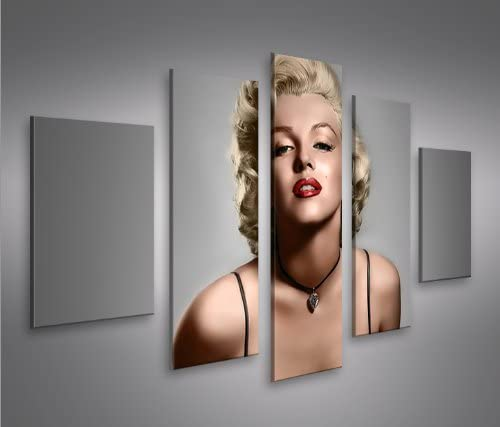 islandburner Cuadro en Lienzo Marilyn Monroe V11 MF Impresión sobre Lienzo - Formato Grande 5 Partes - Impresion en Calidad fotografica