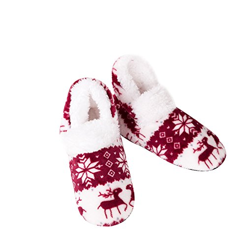 5 Slippers For Indoor Home Slippers Gracefulvara Suit Floor for 5 Women Wooden Claret Flannel US 7 Slippers Size Zx1n8n