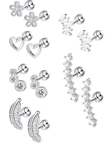 Blulu 6 Pairs Stainless Steel Cartilage Tragus Earrings Stud CZ Barbell Earrings Body Jewelry Piercing Set for Women Girls, 6 Styles (Steel)