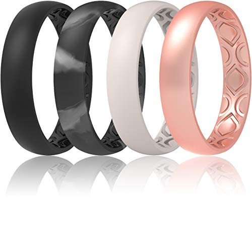 ThunderFit Women Breathable Air Grooves Silicone Wedding Ring Wedding Bands 4mm Width - 1.5mm Thickness - 12 rings / 8 Rings / 4 Rings / 1 Ring