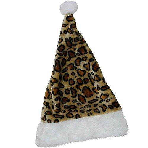 Northlight Cheetah Print Christmas Santa Hat with White Faux Fur Brim, 17.5