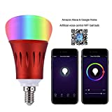 Smart Led Bulb,RGB Dimmable Color Changing WiFi Light Bulbs, Work with Amazon Alexa and Google Assistant, Phone Control,E14,600LM