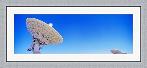 Radio telescope satellite dishes of the Very Large Array on the Plains of San Agustin, Socorro, New Mexico, USA by Panoramic Images Framed Art Print Wall Picture, Flat Silver Frame, 44 x 20 inches Very Large Array Telescope