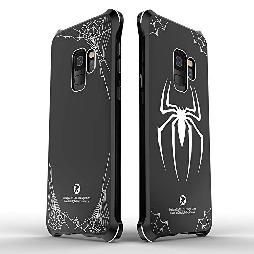 (HIKERCLUB Galaxy S9 Plus Metal Bumper Case [Superhero Spider-Man Design] Aluminum Frame + Acrylic Mirror Hard Back Cover Edge Shockproof Protective Case for Galaxy S9 Plus SM-G965 6.2''(Big Spider))