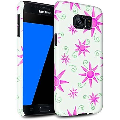 STUFF4 Gloss Tough Shock Proof Phone Case for Samsung Galaxy S7/G930 / Pink/White Design / Sun/Sunshine Pattern Sales