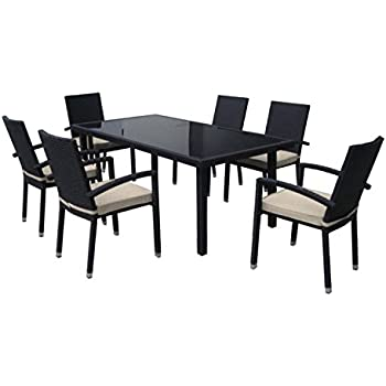 7 Piece Black Resin Wicker Outdoor Furniture Patio Dining Set   Beige  Cushions Part 44