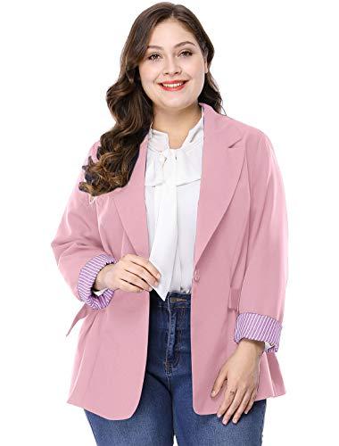 Agnes Orinda Women's Plus Size Contrast Stripe Cuff Notched Lapel Casual Blazer Pink 3X -