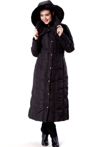 BGSD Women's Lacey Water Resistant Maxi Down Coat - S Black