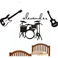 Music-Guitars-Drums Theme Personalized Initial Name Vinyl Wall Decal Perfect ...