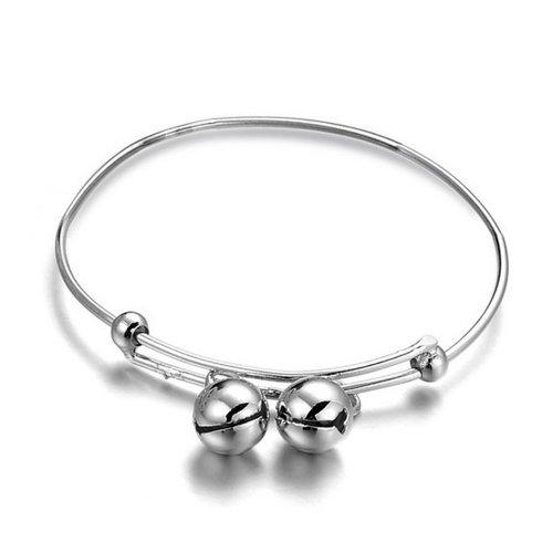 KATGI Fashion 18K White Gold Plated Children's Charm Bells Bracelet ()