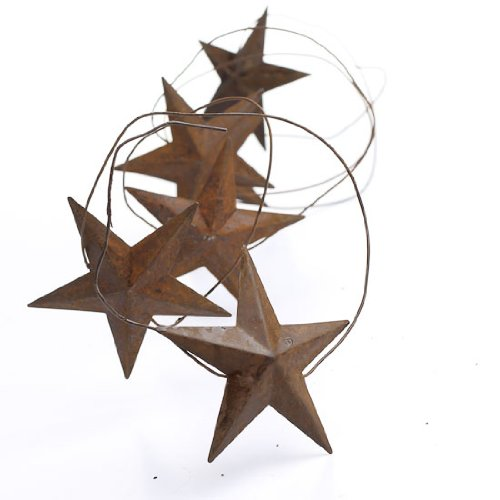 6 Foot Shabby Chic Rusted Dimensional Stars Garland- Set of 3