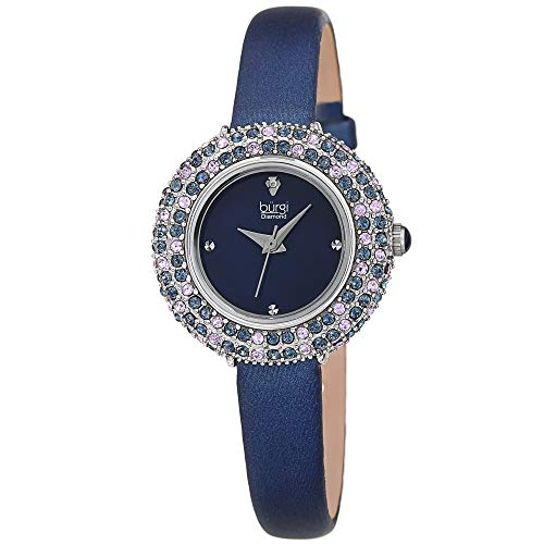 Burgi Swarovski Colored Crystal Watch - A Genuine Diamond Marker - Slim Leather Strap Elegant Women's Wristwatch - Mothers Day Gift - BUR240BU (Blue)