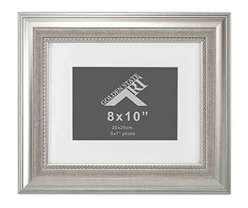 0 Frame with White Mat for 5x7 Picture, Table-Top Easel Stand, Real Glass, Color Champagne Silver ()