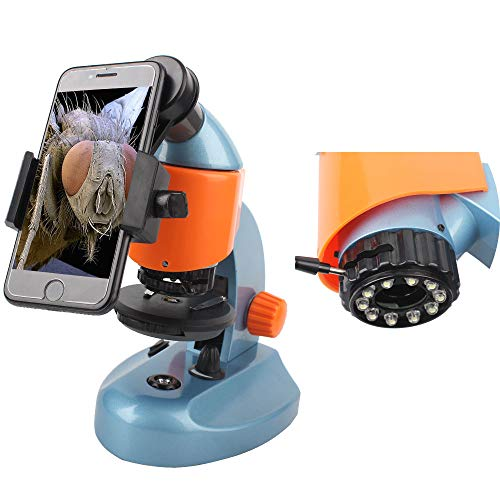 Landove 40X-200X Zoom Compound&Stereo Monocular Microscope for Student and Kids Education, with LED Light and Smartphone Holder by Landove (Image #1)