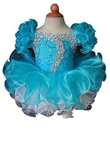 Beiji Baby Girls' Sequins Toddlers Princess Mini Pageant Cupcake Dress 1/1T US Turquoise1 ()