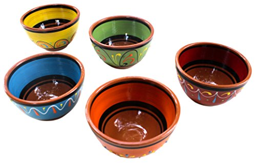 Terracotta Breakfast Bowls, Set of 5 - Hand Painted From - Mexican Cotta Terra