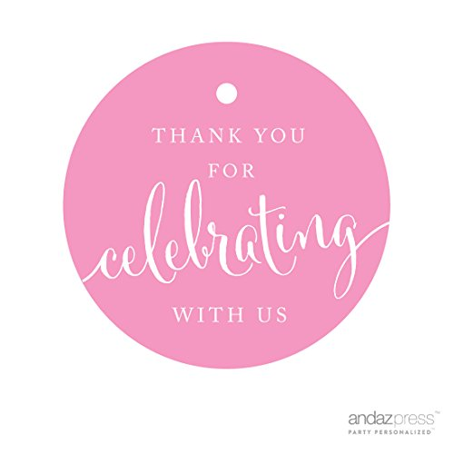 Andaz Press Circle Gift Tags, Thank You For Celebrating With Us, Pink, 24-Pack, Round Thanks Tag For Baby Bridal Wedding Shower, Anniversary Celebration, Graduation, Outdoor Event, Picnic, Luau, Christmas Hanukkah (Holiday Gift Favor Tags)