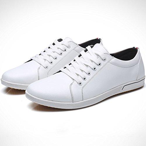 45 Blanc Taille Décontracté 48 Casuel Homme Chaussures Lacets Basses Grande Cuir Sneakers Running 47 à wealsex Baskets Confort 46 qwx8UqO6