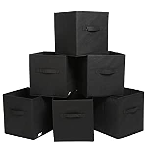 Finnhomy Foldable Storage Cube Fabric Basket Bins Cloth Folding Box Closet Drawers Container Dresser Basket Organizer Shelf Collapsible for Underwear Sock Bra Tight Kids Toy, Set of 6, Black