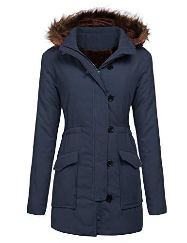 Yhlovg Women's Winter Warm Faux Fur Wool Hooded Coat Parka Cotton Outwear Jacket
