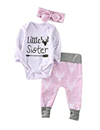 Baby Girls Christmas Outfit Long Sleeve Bodysuit and Deer Pants with Headband Clothes