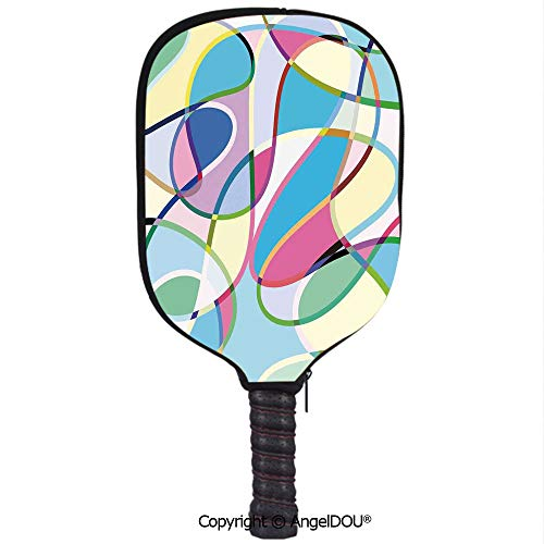 AngelDOU Modern Art Home Decor Lightweight Neoprene Durable Pickleball Paddle Cover Odd Experimental Mix of Drawings Altering Active Motion States Artwork Holder Sleeve Case ()