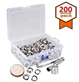 """200 Sets 1/2"""" (12MM) Grommet Tool Kit,Internal Hole Silver Nickel Plate Grommets Eyelets Rings with Die Punch Tools and Storage Box for Bead Cores,Clothes,Leather,Canvas"""