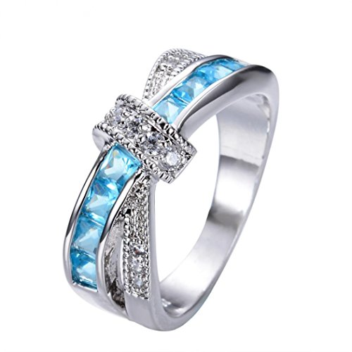 Set Gift Diamonds Sapphires (2018 New Rings Daoroka Stone Crystal Ring Delicate And Beautiful Diamond Studded Zircon Female Rings Jewelry Gift (8, Sky Blue))