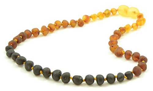 The Art of Cure Original Baltic Amber Necklace- Polished Handmade (Raw Rainbow) for boy or girl – 12-12.5 Inches ()