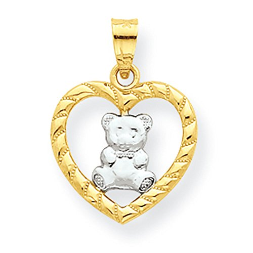 Yellow Gold Teddy Bear Charm - Pendants Children and Baby Charms 10K Gold Teddy Bear Heart Charm Pendant
