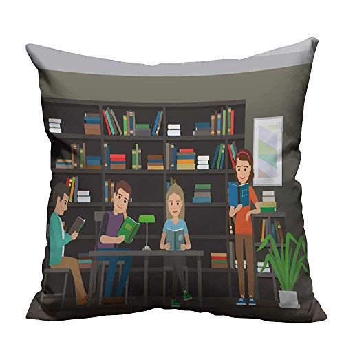 (YouXianHome Super Soft Pillowcase Four Characters Men Women sit at Table lamp Resists Wrinkles(Double-Sided Printing) 26x26 inch)