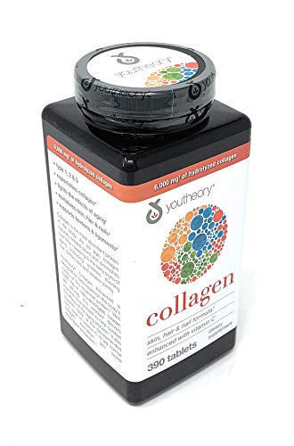 Youtheory Collagen Advanced Formula,Skin, Hair and Nails Enhanced with Vitamin C,6 Grams Collagen Type 1, 2 & 3 with 18 Amino Acids,390 Tablets