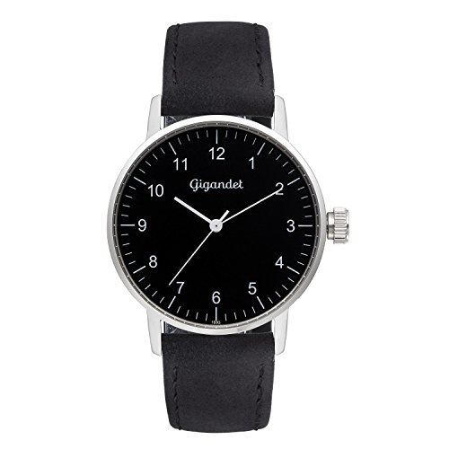 Gigandet Women's Quartz Watch Minimalism Analog Leather Strap Silver Black G27-003