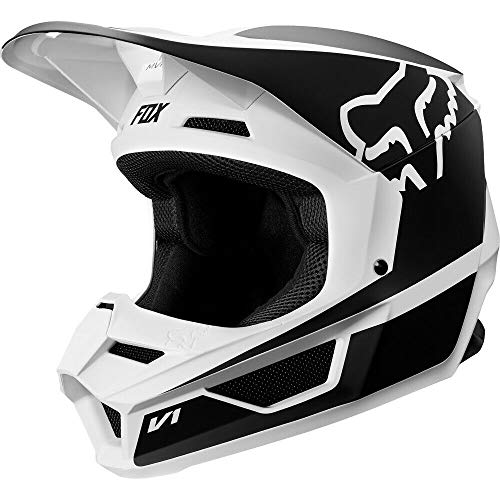 2019 Fox Racing V1 Przm  Off-Road Motorcycle Helmet - Black/White / 2X-Large (Best Cycle In The World 2019)